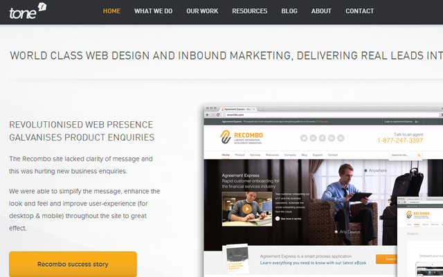 tone agency website fixed header wordpress design