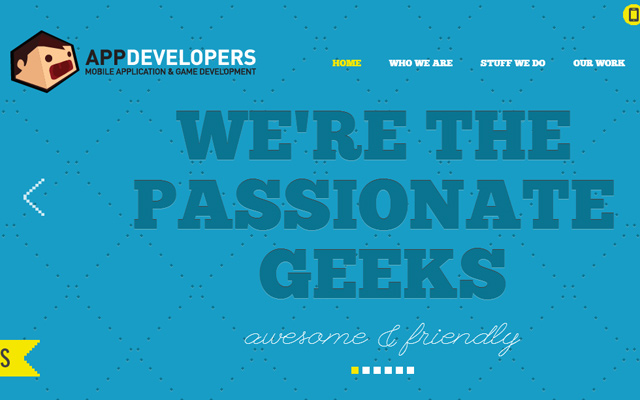 app developers custom blue layout website