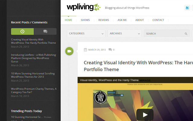 wpliving wordpress living blog website design