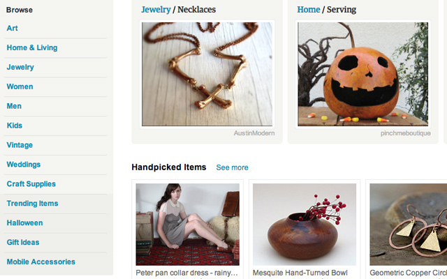 etsy products list web design interface layout