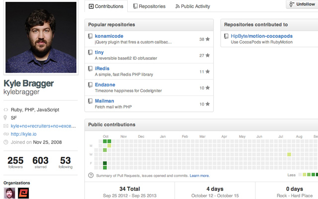 github user profile kyle bragger screenshot stats repositories