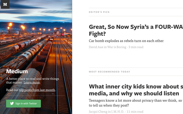 medium blogging posts users homepage layout screenshot