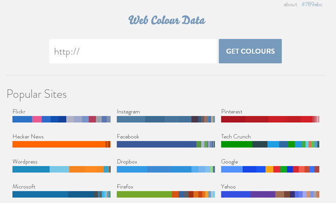 web colour data webapp inspiration design
