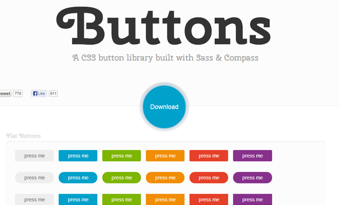 open source github buttons css library
