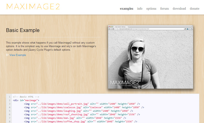 maximage jquery plugin fullscreen image gallery rotation script