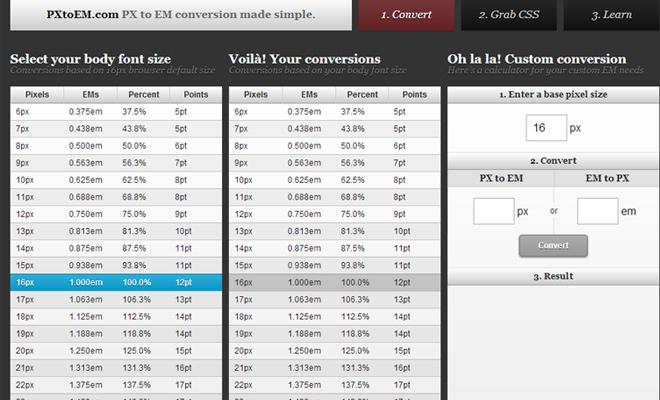 online webapp pixels to ems converter