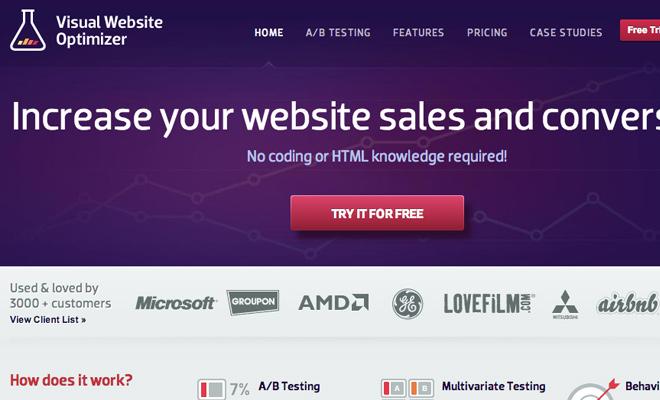 visual website optimizer vwo homepage layout screenshot