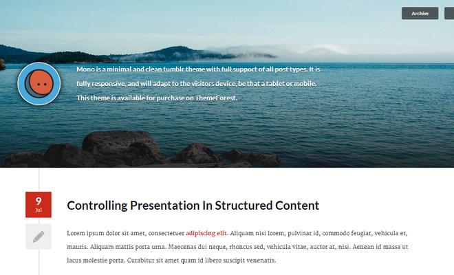 mono minimal responsive tumblr blog theme