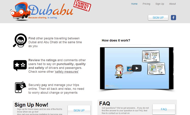 dubabu website startup homepage layout design