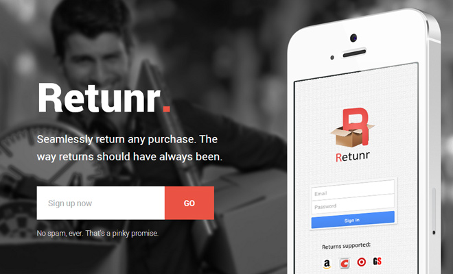 iphone return products startup retunr homepage