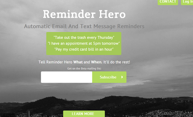 fullscreen background image startup reminder hero