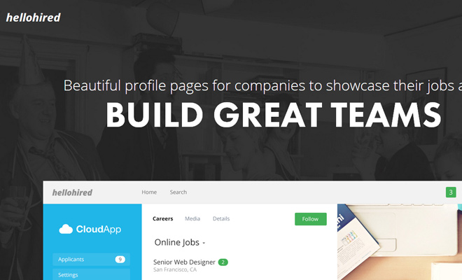 hello hired companies startup website layout