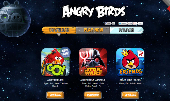 angry birds mobile ios app website layout