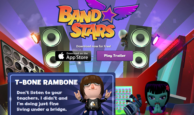 band stars iphone mobile app website layout colorful musicians
