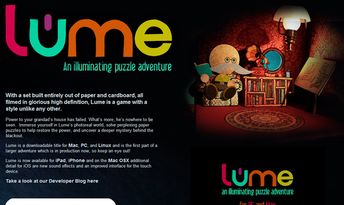 lume ios app game website layout