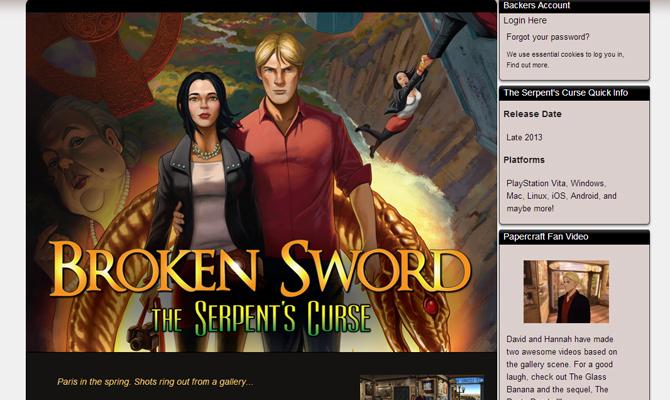 bs5 broken sword mobile game website layout