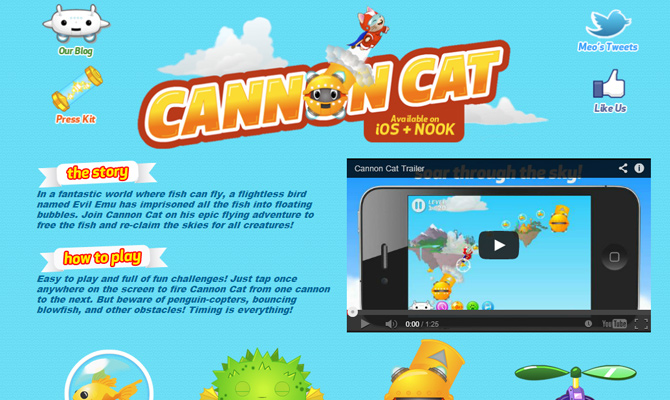 blue sky background cannon cat iphone game website