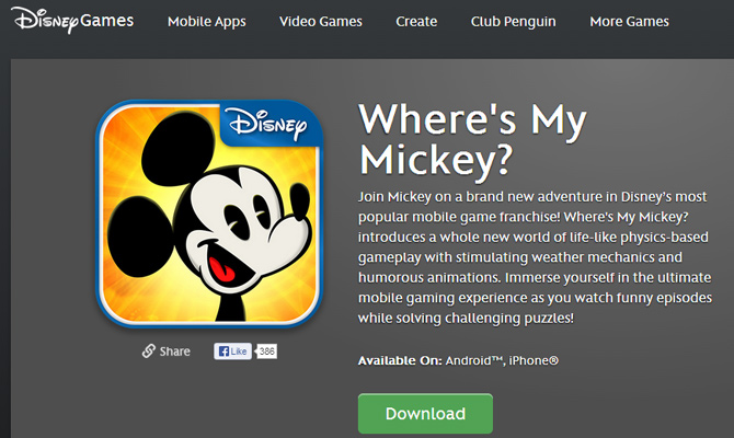 mickey mouse disney mobile app game website layout wheres