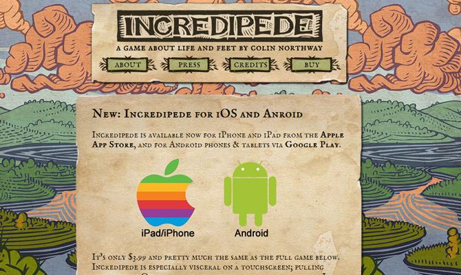 incredipede game mobile colorful illustration background website