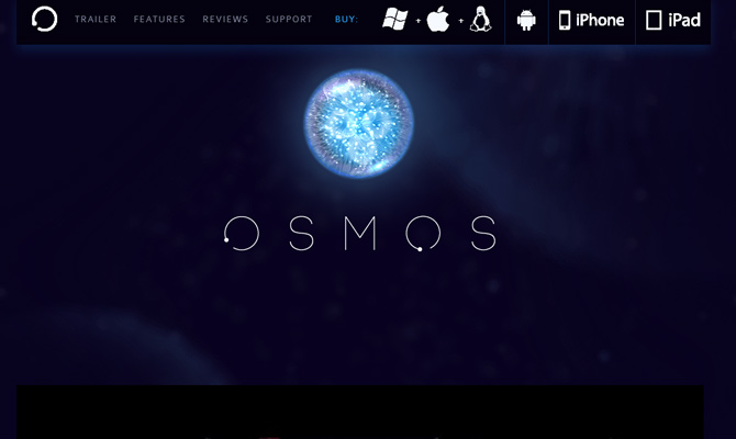 osmos blue dark game website layout mobile