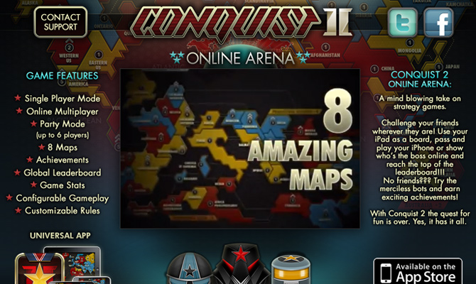conquist 2 mobile smartphone app game website layout