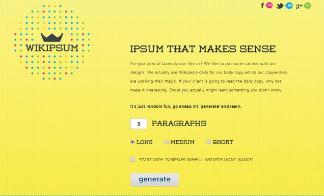 wiki ipsum yellow flashy website design
