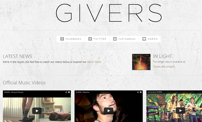 givers band website homepage layout