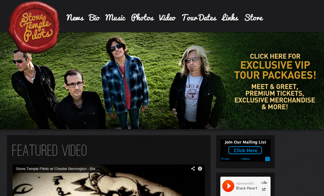 stone temple pilots band website design