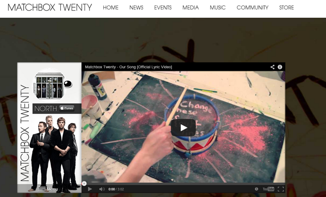 matchbox twenty band homepage design