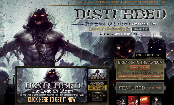dusturbed metal band website homepage