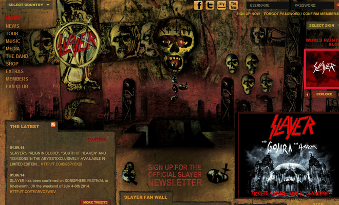 slayer metal band website homepage