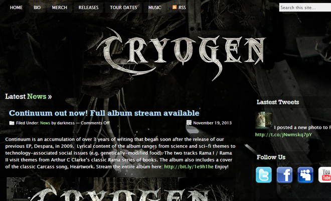 cryogen death metal band homepage layout 2014