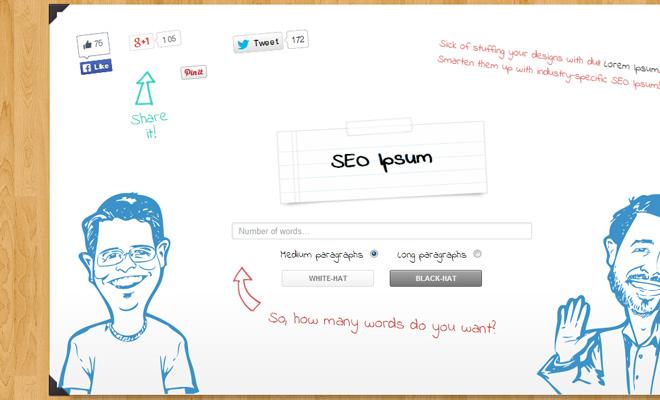 seo ipsum lorem text generator webapp website