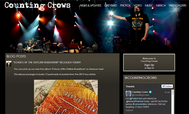 counting crows website band layout design