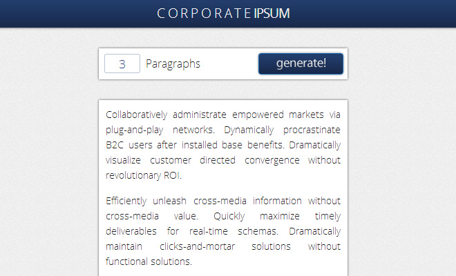 corporate ipsum design generator website