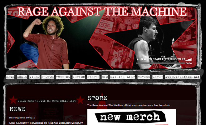 ratm rage against machine design homepage