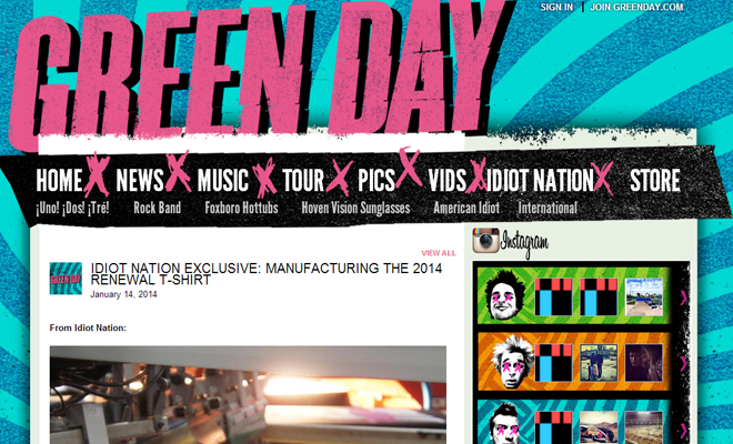 green day band website homepage design