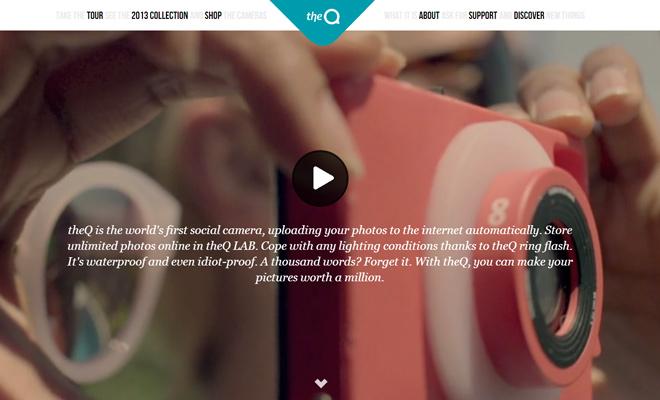 theq camera website fullscreen video design