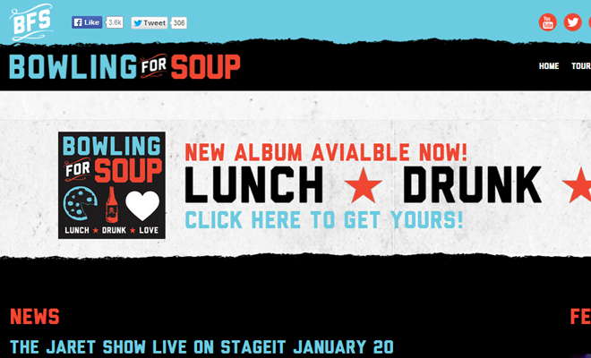 bowling for soup band website design