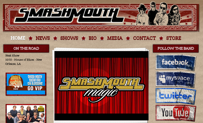 smash mouth band website layout homepage