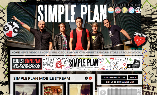 unique band homepage website simple plan