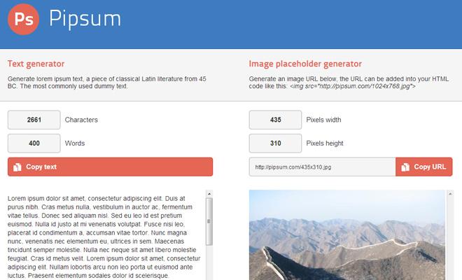 text generator lorem ipsum webapp homepage