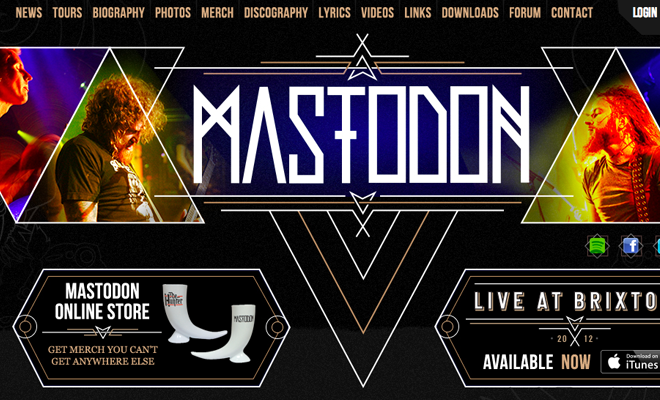 mastodon metal band homepage fullscreen website layout