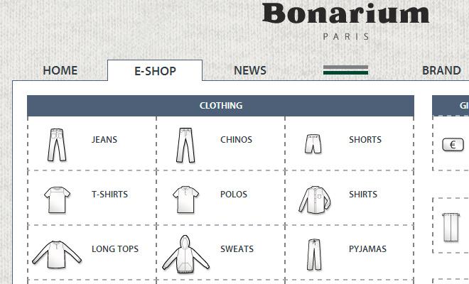 bonarium dropdown shop navigation menu design