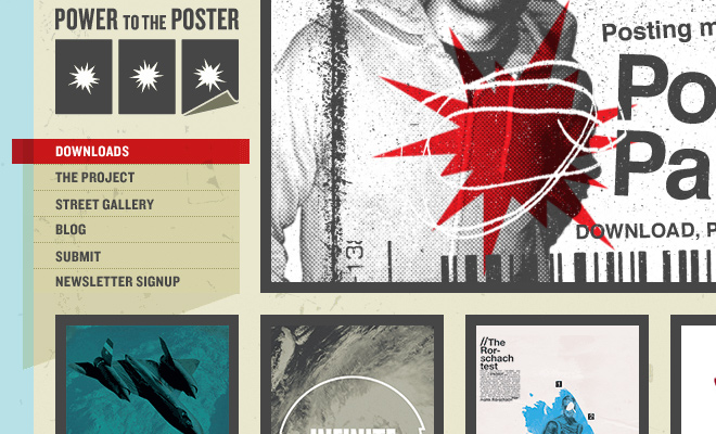 power to the poster website navigation menu
