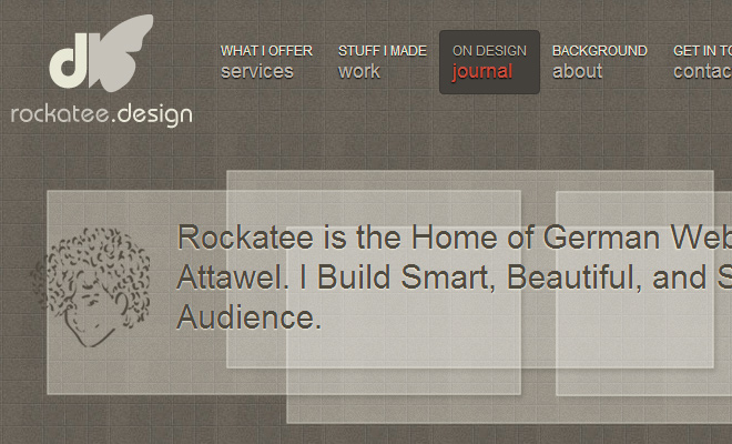 rockatee design homepage navigation ui inspiration