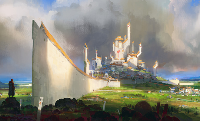 countryside castle scene landscape illustration