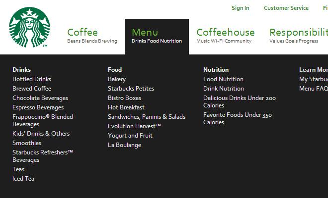 green starbucks navigation menu dropdown layout