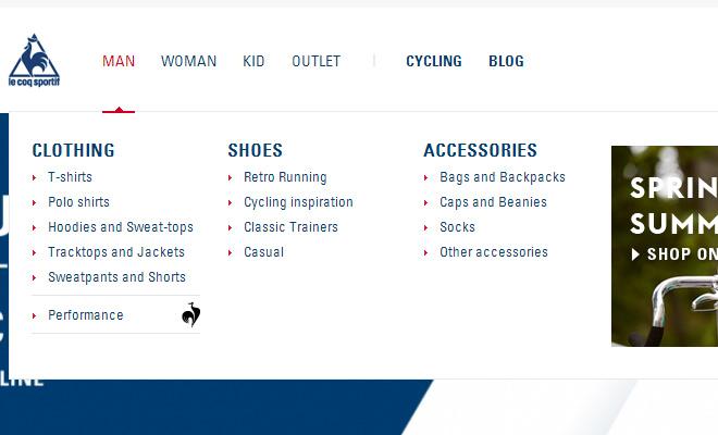 le coq sportif navigation menu dropdown