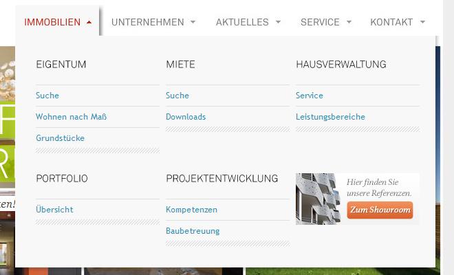 german red white navigation menu design